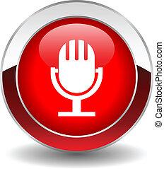 micrófono, vector, botón