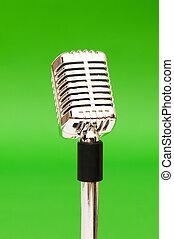 micrófono, vendimia, contra, brillante, fondo verde