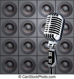 micrófono, y, altavoces