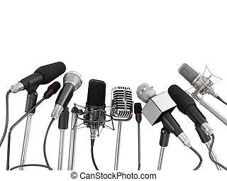 micrófonos, conferencia, encima, aislado, vario, prensa,...