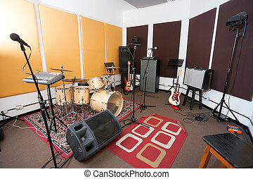micrófonos, instrumento, estudio, musical