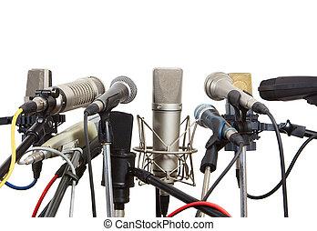 micrófonos, preparado, para, conferencia, meeting.