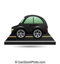 micro, auto, op, straat, ontwerp