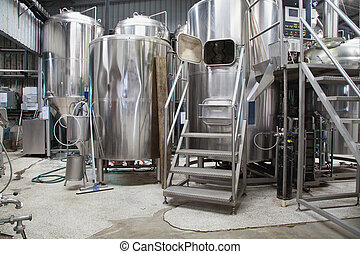 Boutique micro brewery with stainless steel equipment