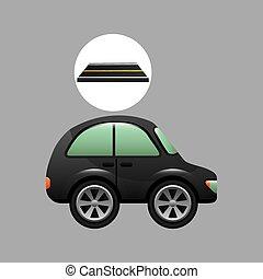 micro, disegno, strada, automobile