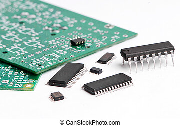 several integrated microelectronics components and green microcircuit board