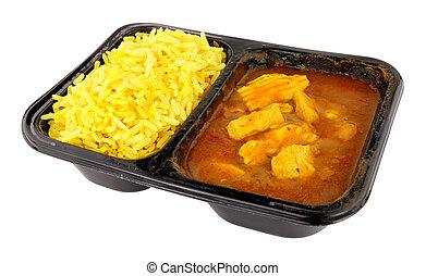 micro ondes, commodité, poulet, riz, curry, repas