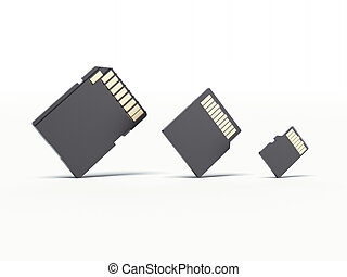 micro sd card and adapter  isolated on a white background.