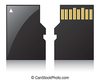 Micro sd card on white background with reflection