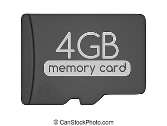 Micro SD memory card. 4 GB. Top view. Isolated on white.