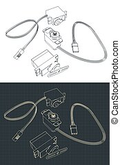 Stylized vector illustration of micro servos for education and robotics