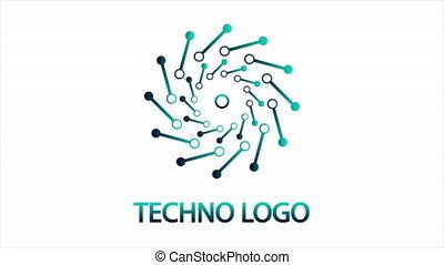 Micro tech circular logo, art video illustration.