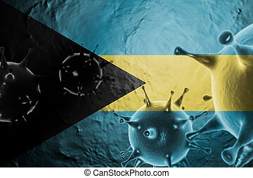 Micro View Of Virus Floating, With Bahamas Flag Background 3D Render