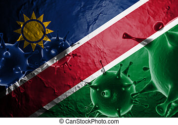 Micro View Of Virus Floating, With Namibia Flag Background 3D Render