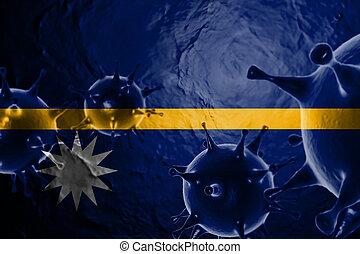 Micro View Of Virus Floating, With Nauru Flag Background 3D Render