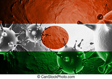 Micro View Of Virus Floating, With Niger Flag Background 3D Render