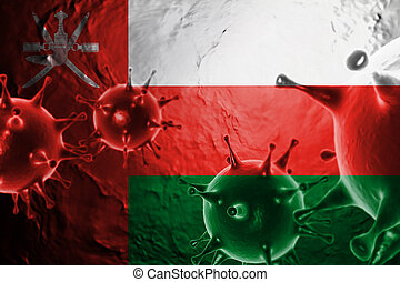 Micro View Of Virus Floating, With Oman Flag Background 3D Render
