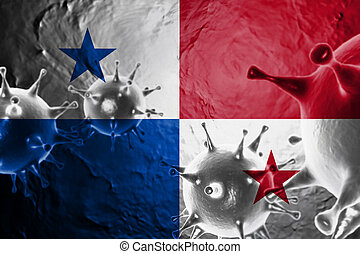 Micro View Of Virus Floating, With Panama Flag Background 3D Render