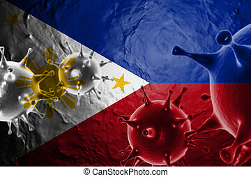Micro View Of Virus Floating, With Philippines Flag Background 3D Render