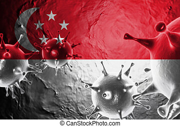 Micro View Of Virus Floating, With Singapore Flag Background 3D Render