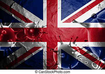 Micro View Of Virus Floating, With United Kingdom Flag Background 3D Render