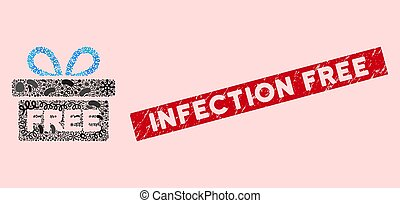 Microbe Collage Free Gift Icon with Grunge Infection Free Stamp