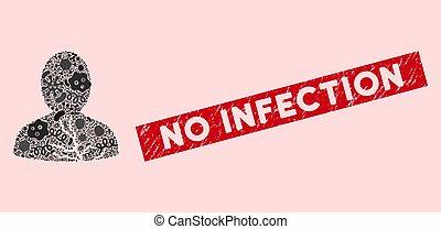 microbe, collage, icône, patient, grunge, non, cachet,...