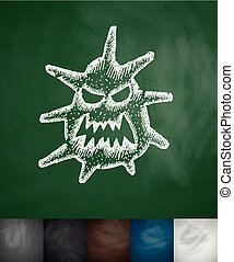 microbe icon. Hand drawn vector illustration. Chalkboard...