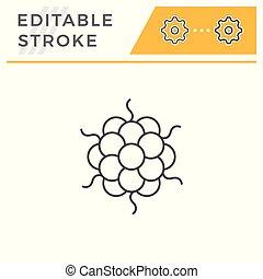 Microbe line icon isolated on white. Editable stroke. Vector...