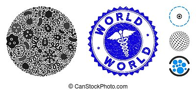 Microbe Mosaic Filled Circle Icon with Serpents Distress ...