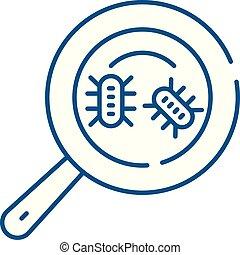 microbial, 分析, 線, 圖象, concept., microbial, 分析, 套間, 矢量, 符號,...