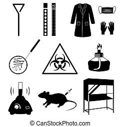 microbiología, laboratorio, vector, iconos, conjunto