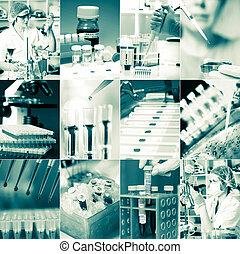 microbiologie, ensemble, monde médical, travail, laboratoire...
