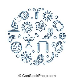 Microbiology round vector illustration on white background