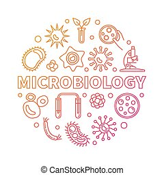 Microbiology round vector red outline science illustration -...