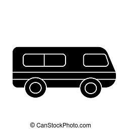 microbus - minibus icon, vector illustration, black sign on isolated background