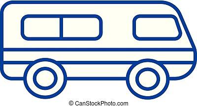 Microbus, minibus line icon concept. Microbus, minibus flat vector symbol, sign, outline illustration.