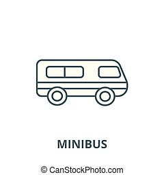 Microbus, minibus vector line icon, linear concept, outline sign, symbol