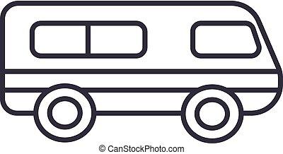 microbus, minibus vector line icon, sign, illustration on background, editable strokes
