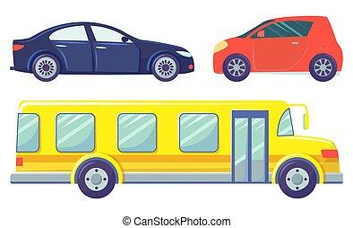 microcar, ans, バス, 自動車, 白, セダン, 隔離された