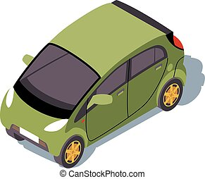 Microcar isometric color vector illustration. City transport...