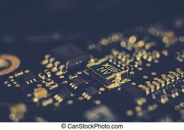 microchip, achtergrond., closeup, macro