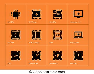 Microchip and microprocessor icons on orange background....