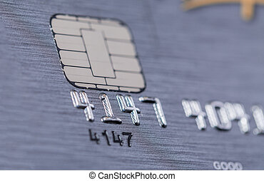 Microchip and numbers on a bank card - Low angle view of the...