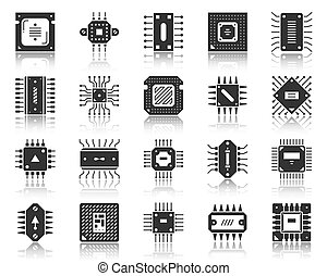 Microchip black icon microprocessor cpu vector set