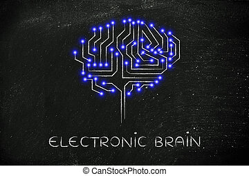 microchip circuit brain with led lights, caption electronic brain