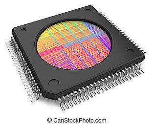 microchip, com, visível, dado