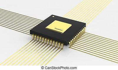 microchip computadora, unidad central de procesamiento, aislado, blanco, plano de fondo