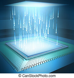 Microchip Concept - Binary code moving to the central...