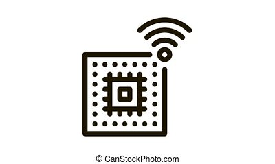 Microchip Icon Animation. black Microchip animated icon on white background